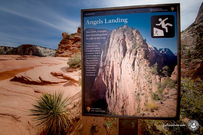 Angels Landing Warnschild