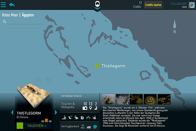 Übersicht Tauchplatzkarte 3D Thistlegorm