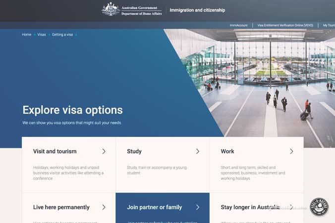 Australien Einreise Webseite