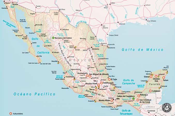 Mexiko Reiseführer Karte